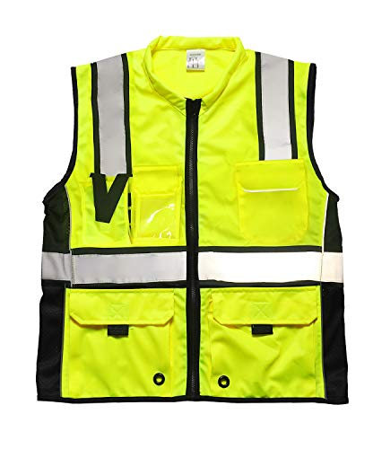Phrmovs 6 Pockets Class 2 High Visibility Safety Vest With Reflective Strips, Zipper Front,HQ Breathable Mesh Workwear from Phrmovs