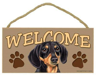 (Nellie Beck Dachshund Welcome Sign Retro Hanging Wood Sign - 5 x 10 Inches)