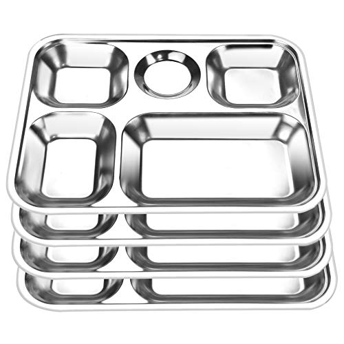 Roe & Moe Stainless Steel Divided Serving Tray 5-Compartment Rectangular 12x9.25-Inches (4-Pack)