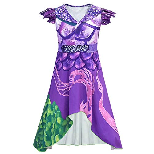 Tsyllyp Girls Women Dragon Mal Audrey Dress Costume Jumpsuit Bodysuit for Halloween