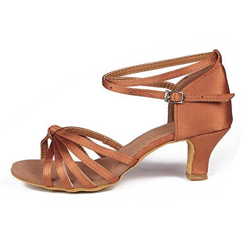 YFF Mujer Zapatos de Baile latino /Ballroom Tango 5cm/7cm 11Corlors 5cm heels brown