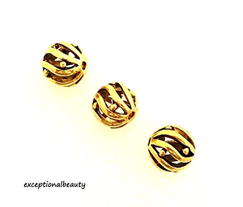 (10 Antiqued Gold 8mm Round Ball Hollow Cutout Swirl Cutout Spacer Metal Beads)