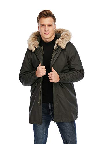 TIENFOOK Men Parka Jacket Winter Coat with Drawstring Waist Thicken Fur Hood Lined Warm Detachable Design Outwear Jacket (Olive, X-Large)