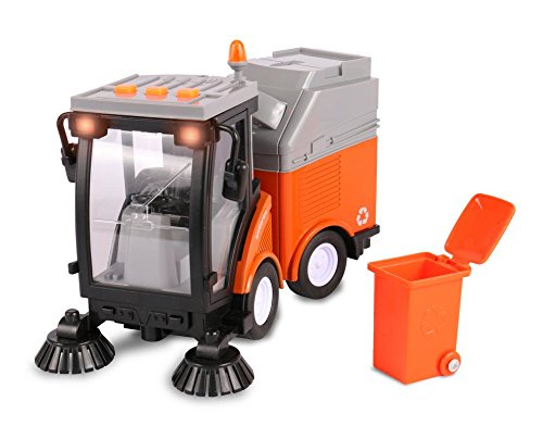 Friction Powered Street Sweeper – Push and Go Driving Toy Truck with Lights and Sounds for Babies and Toddlers – by (Street Cleaner)