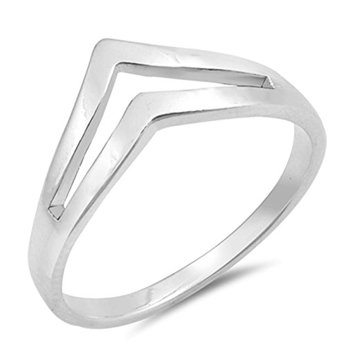 Double Chevron Shaped Sterling Silver Womens Ring Size 9 ()