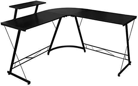 L Shaped Desk Modern Round Corner PC Laptop Computer Desk 51″ Home Office Study Writing Workstation Gaming Desk