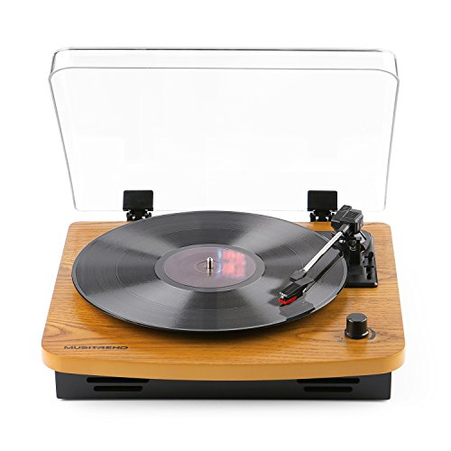 musitrend lp 3 speed turntable with built in stereo speakers vintage style record player. Black Bedroom Furniture Sets. Home Design Ideas