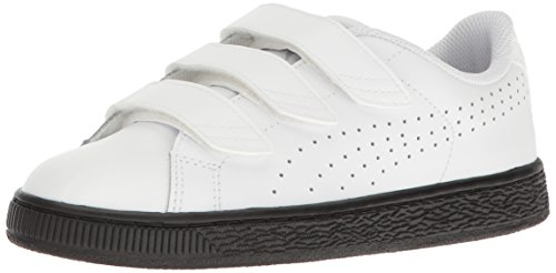 PUMA Kids' Basket Classic Velcro B&WJR Sneaker, White White, 4.5 M US Big Kid (Performance Basket)