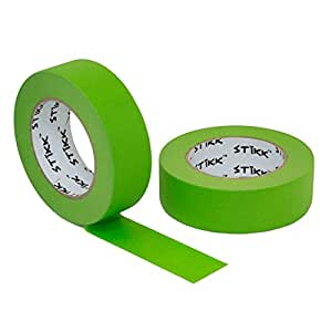 """2pk 1.5"""" x 60 yd STIKK Green Painters Tape 14 Day Clean Release Trim Edge Finishing Masking Tape (1.44 IN 36MM) (2 Pack)"""