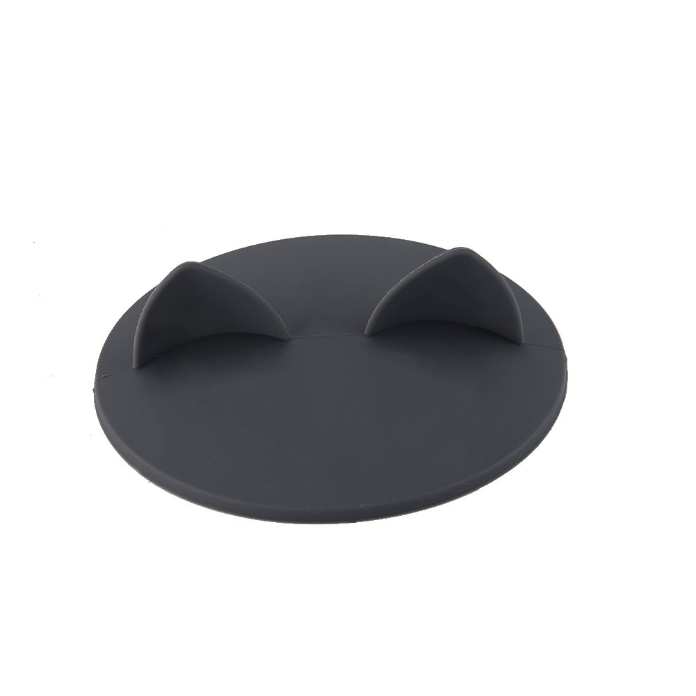 Cup Cover Cat Ears-shaped Foodgrade Silicone Heatresistant Safe Healthy Silicone Lid by Samber Gray