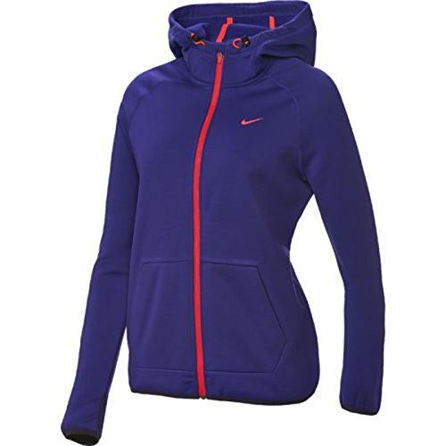 Nike Women's All Time Tech Full Zip Hoodie (Large, Court Purple/Cave Purple/Hyper Punch) (Zip Hoodie All Time Full Nike)
