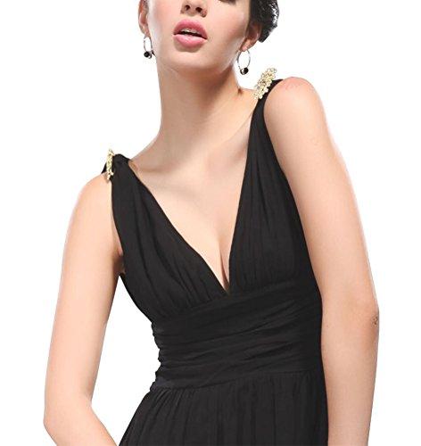 de manches cocktail demoiselle de MILEEO sans soir gante Noir cou maxi mousseline V couleur robe de Maxi soie en longue l femme unie d'honneur robes e Robe qRqPw4S8