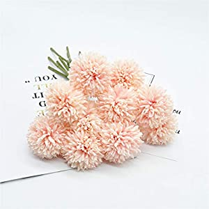 SHINE-CO LIGHTING Artificial Chrysanthemum Ball Flowers Bouquet 10pcs Present for Important People Glorious Moral for Home Office Coffee House Parties and Wedding 88