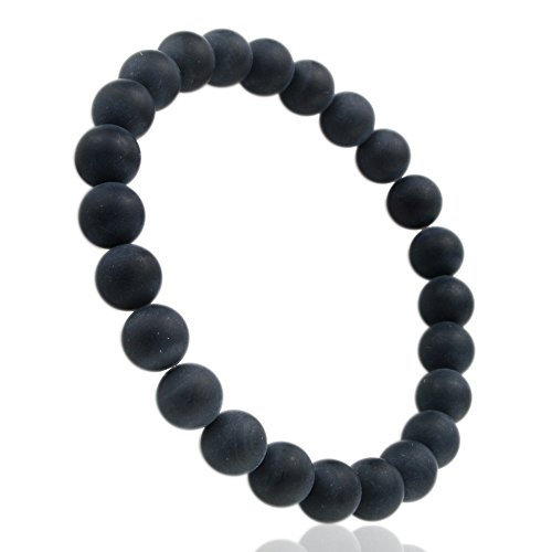 jennysun2010 Handmade Natural Matte Black Onyx Gemstone Smooth Round Loose Beads 8mm Stretchy Bracelet Healing  7'' Inches Wrist ( 23pcs Beads in the Bracelet )