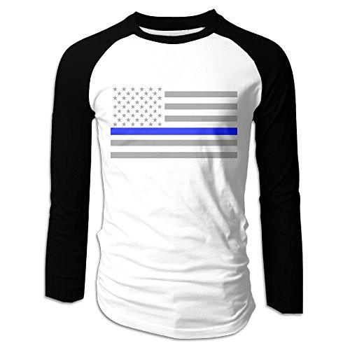 Creamfly Mens Thin Blue Line American Flag Long