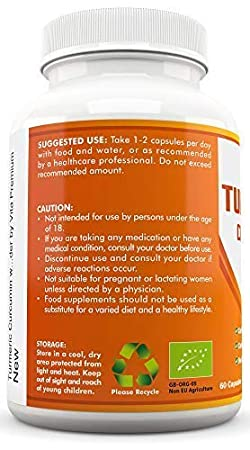 Curcumina de Cúrcuma Orgánica, 500 mg, Con Pimiento Negro Orgánico; 60 Cápsulas, Aprobado Para Veganos y Vegetarianos, Sin OGM; Suplemento Certificado Por ...