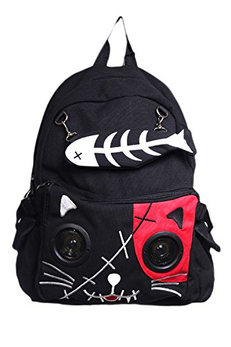 Banned Goth Punk Rock Emo Kitty Cat & Fishbone Music Speaker Backpack - Cat Punk Rock