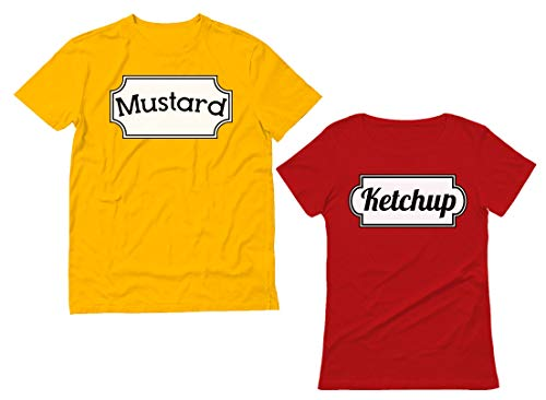 Easy Simple Creative Halloween Costumes (Ketchup & Mustard Matching Couple Halloween Set Easy Costume T-Shirts Women Medium Red/Men Yellow)
