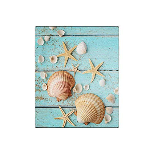 (InterestPrint Summer Blue Wooden Seashell Starfish Soft Fleece Velvet Travel Blanket Throws for Couch Living Room Office for Kids Adult, 50 by 60 Inch)