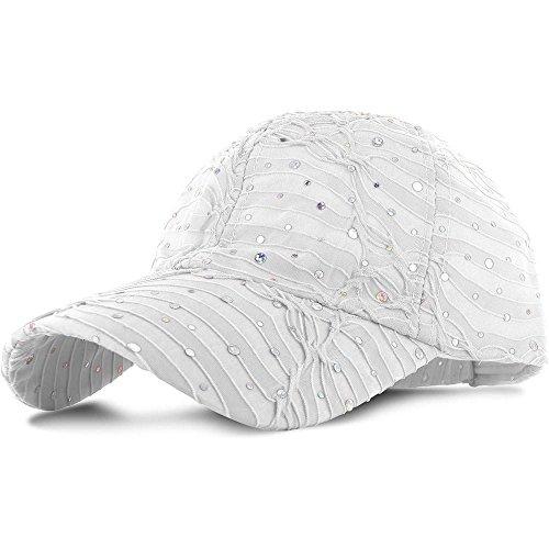 White_100% Polyester Glitter Baseball Cap Golf Hat Rhinestone (US Seller)