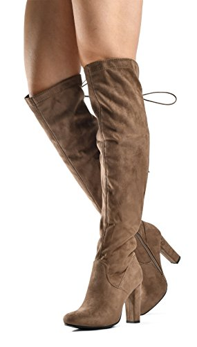 Boots Skirts Knee High (Zoe Stretch Thigh High Boots - Trendy Comfortable Block Heel - Over The Knee Pullon Sexy Back Lace Up Dark Dark Taupe 10)