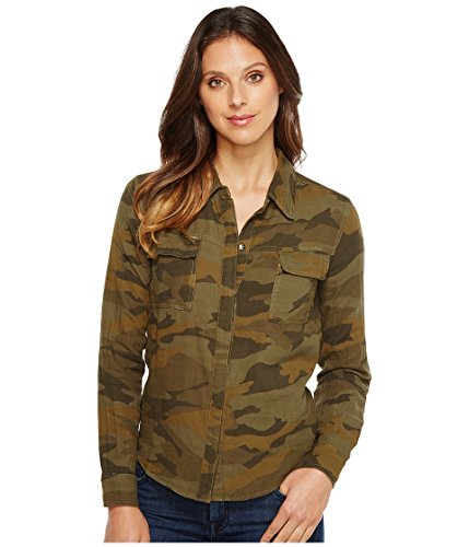 Splendid Women's Camo Print Double Cloth Shirt Military Olive Button-up Shirt
