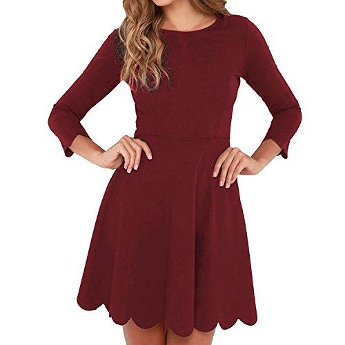SUNNOW Women's O-Neck 3/4 Sleeve Pleated Tunic Wavy Skater Dress (M, Wine Red)
