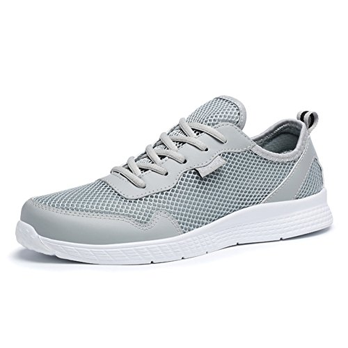 Scurtain Mens Casual Breathable Mesh Walking Shoes Light-Weight Lace Up Fashion Sneakers Large Size Gray