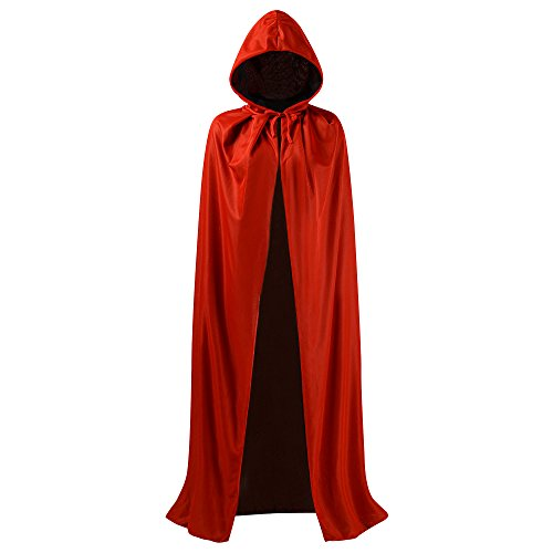 OurLore Black and Red Reversible Halloween Christmas Cloak Masquerade Party Cape Costume (55 inch, with Hood) -