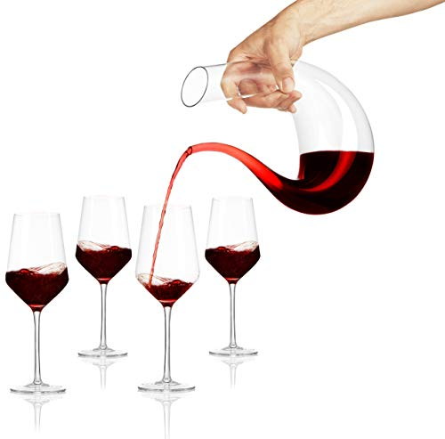 Miko Wine Decanter Set With 4 Wine Glasses, Hand Blown Lead Free Crystal Clear Wine Decanter Set (U-Shape)