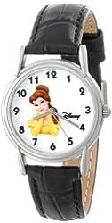 Disney Women's D079S005 Belle Black Leather Strap Watch