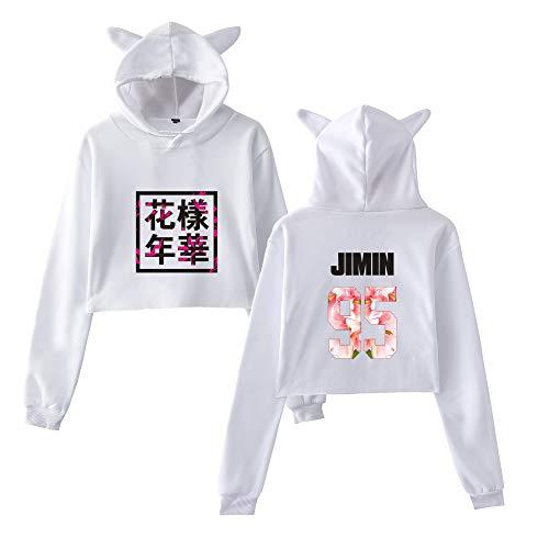 Donna BTS Moda Cute Orecchie di gatto Felpe sportive con cappuccio Allentato Casual Comode Breve Sweatshirts