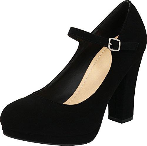 Cambridge Select Women's Closed Round Toe Buckled Mary Jane Padded Comfort Platform Chunky Heel Pump,9 B(M) US,Black Nbpu