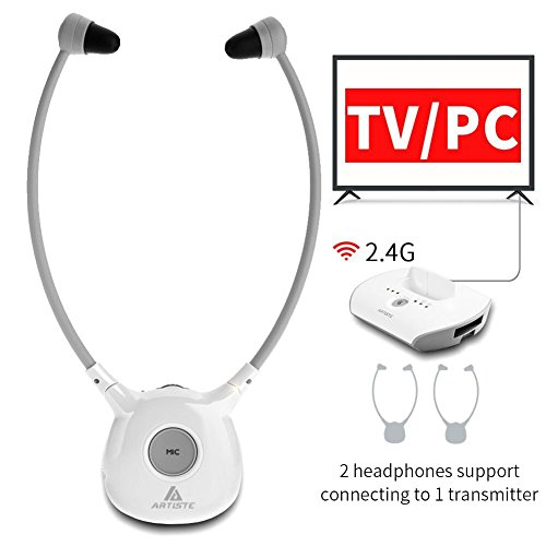 Artiste APH100 Wireless Headphones for TV, 2.4GHz Digital Wireless Hearing Assistance TV Listening Headsets System for Seniors with RF Transmitter Voice Clarifying TV Sound Amplifier