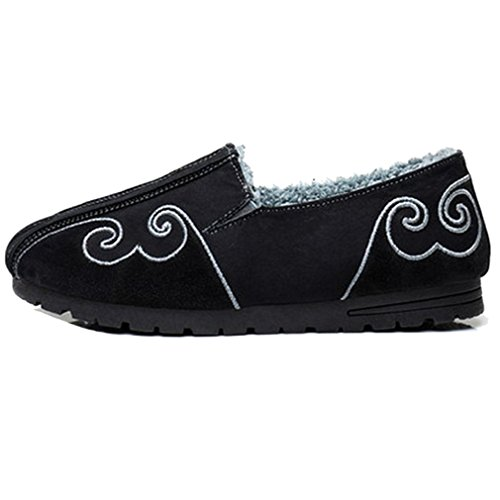 FANGDA Mens Chinese Style Keeping Warm and Thickening Low Shoes Cotton Cloth Kung Fu Shoes for Winter Black RaYNfZlI37