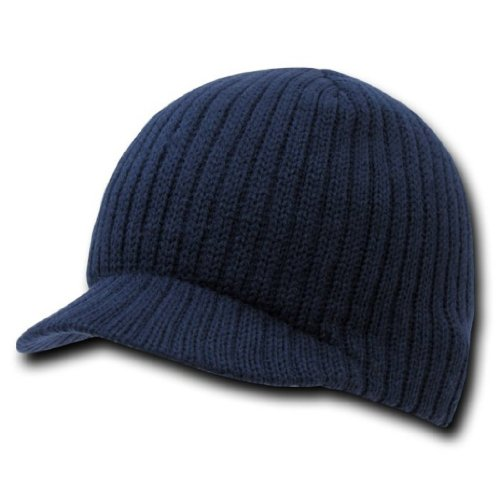 Decky Knit Visor Beanie Campus Jeep Ski Cap (One Size, Navy Blue)