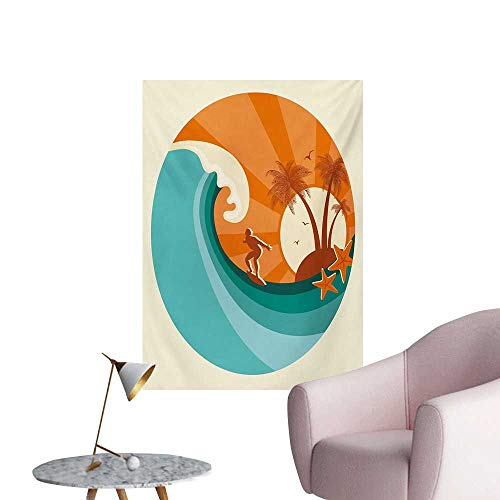 Anzhutwelve Ride The Wave Wallpaper Retro Man Surfing at Beach Island Coconut Palm Trees IllustrationOrange Teal Ivory W32 xL48 Cool Poster