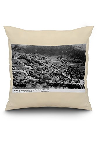 Olean, New York - Seneca Heights Aerial from Mt Hermance Photograph (20x20 Spun Polyester Pillow, White Border) (Olean New York compare prices)