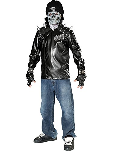 Rubies Costume Dead City Choppers Child's Metal Skull Biker Rider Costume, - Jacket Biker Vinyl