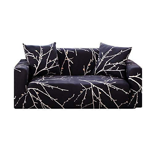 Universal Slipcovers Sectional Elastic Stretch Sofa Cover for Living Room Furniture Couch Cover L Shape Single/Two/Three Seat,Dark,3 Seater