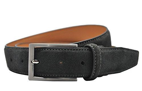 Ground Mind Men's Suede Leather Belt (34 Dark Grey)