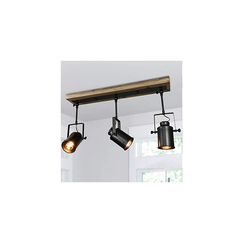 Lingkai Track Lighting Fixtures 3 Lights, Adjustable Track Lighting Heads Industrial Wood Canopy for Ceiling and Wall