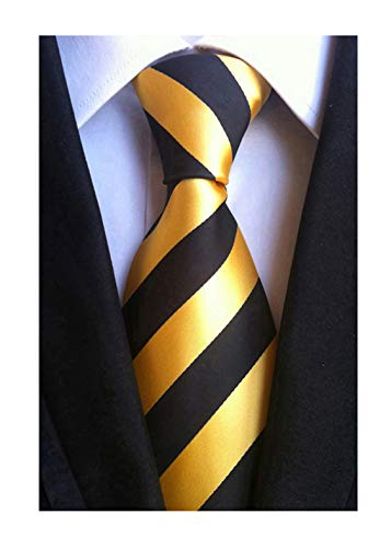 Elfeves Men's Modern Striped Patterned Formal Ties College Daily Woven Neckties (One Size, Golden Black)