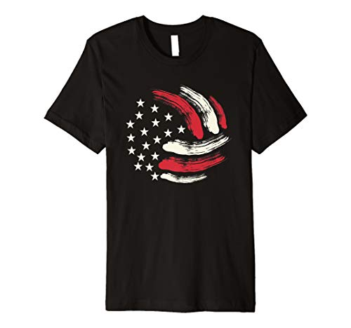 (Patriotic Volleyball Gift Volleyball Team American Flag Premium T-Shirt)
