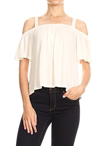 (Anna-Kaci Womens Thick Strap Off-Shoulder Modern Peasant Blouse Short Sleeve Top, Off-White, Medium)