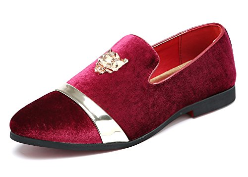 Designer Buckle (Mens Velvet Loafers Slippers with Gold Buckle Wedding Dress Shoes Slip-on Smoking Flats Red 6 D(M) US)