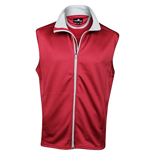 The Weather Company Mens Poly-Flex Full Zip Vest Red S by The Weather Apparel Co