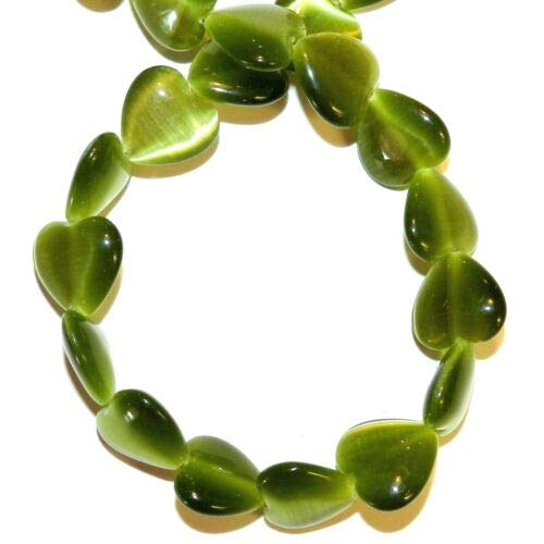 G1436 Green 12mm Puffed Flat Heart Cat039s Eye Fiber Optic Glass Beads 14'' Crafting Key Chain Bracelet Necklace Jewelry Accessories Pendants (Charm Heart 12mm Puffed)