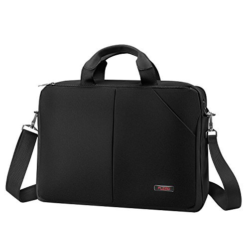 Plemo 15.6 Inch Nylon Water-Repellent Business Bag Shoulder Bag with Multiple Storage Compartments Fits 13''-15.6'' Laptop (Black) by Plemo