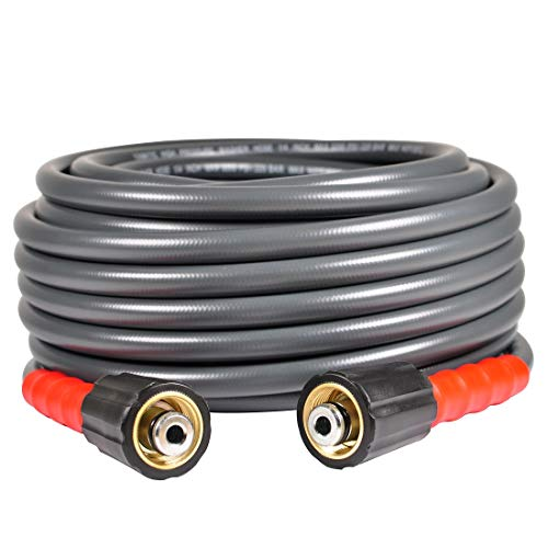 YAMATIC Flexible & Wear Plus Pressure Washer Hose 3200 PSI 25 FT X 1/4 INCH Non-Kink with (2) M22-14mm for Pressure Washer Hose -